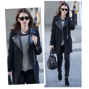 Zara Wool Coat With Faux Leather Lapel